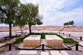 Kibbutz Sde Boker in the Negev desert.  Memorial Cemetery of the founder of Israel, David Ben Gurion and his wife Poline poster