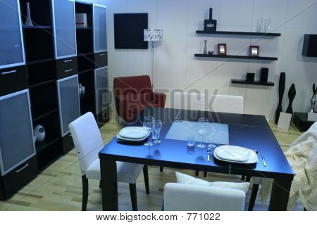 modern room with dining table