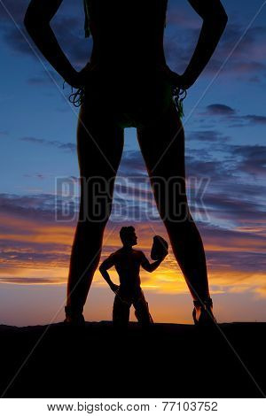 Silhouette Woman In Bikini Heels Legs And Waist With Cowboy
