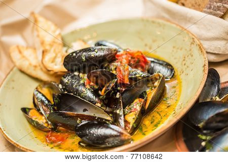 Moules Marinieres. Mussels cooked with white wine sauce. Shallow dof. poster