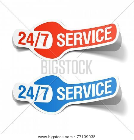 24 hours a day service sticker. Vector.