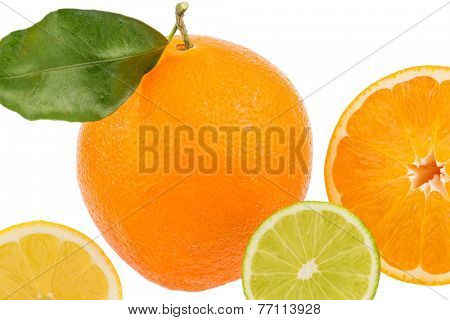reflection of an orange. photo icon for healthy vitamins with fresh fruit