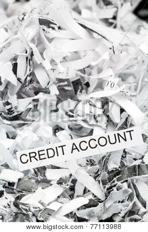 shredded paper tagged with credit account, symbol photo for data destruction, finance and credit