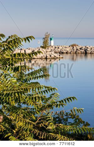 Breakwall Reflection In Still Water