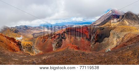 Panoramic photo of the Red Crater on the top of Tongariro Volcano with a Mount Ngauruhoe in the back, Tongariro Crossing National Park - New Zealand