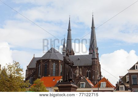 Oude Kerk (Old Church) in the city of Delft Holland