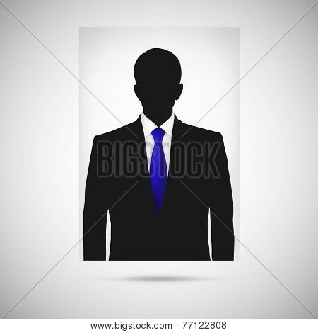 Profile picture whith blue tie. Unknown person silhouette