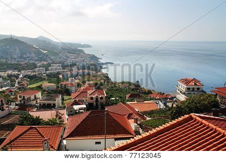 red roofs of Madeira houses near the ocean