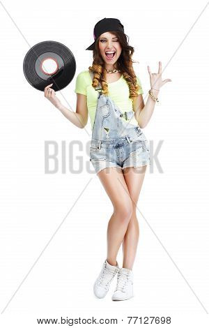 Excited Woman with Vinyl Record Showing Victory Sign poster