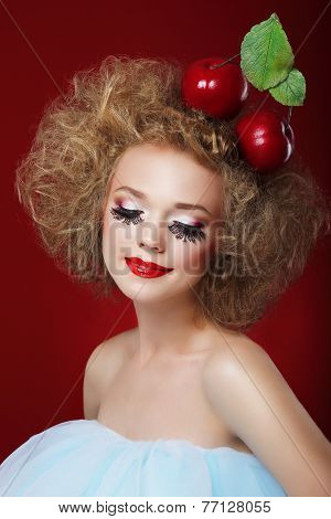 Grotesque. Humorous Woman with Red Apples and Fancy Makeup poster