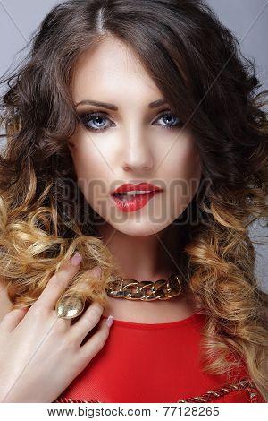Desire. Flirtatious Woman Biting Her Sexy Lips