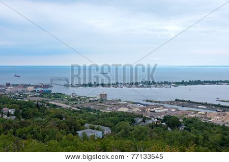 Aerial Of Superior Bay And Harbor