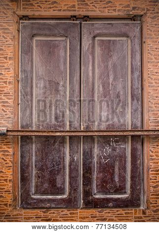 Brown Shutter Of A Moroccan Building