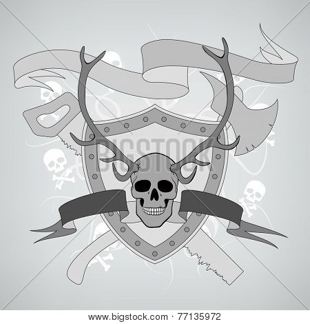 horned skull coat of arms with ax and saw
