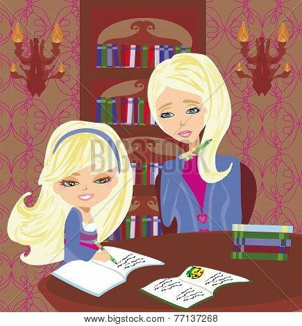 Mom helping her daughter with homework or schoolwork at home , vector illustration poster