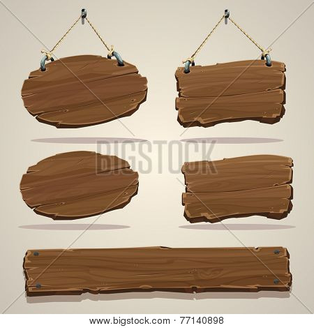 Wood board on the rope. Vector illustration.