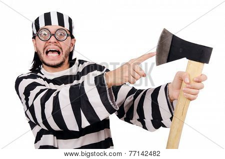 Prison inmate isolated on the white background poster