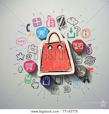Shopping collage with icons background
