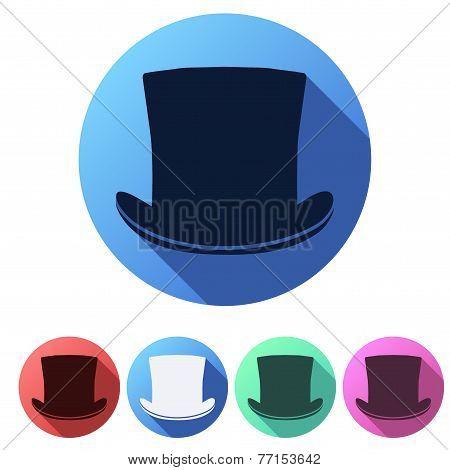 Set Flat icons of black gentleman hat cylinder