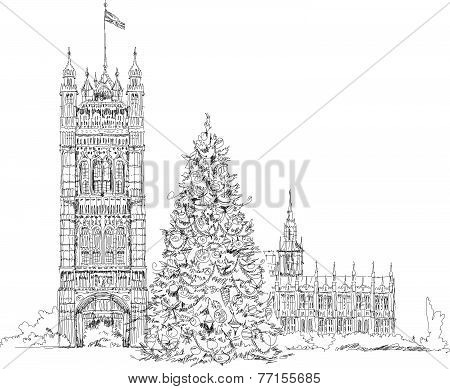 Christmas tree in London in front of Parliament tower, sketch collection