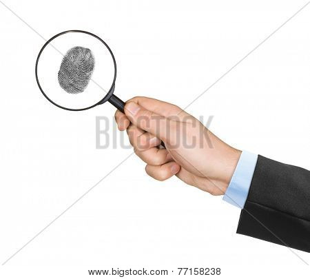 Magnifying glass in hand and fingerprint isolated on white background