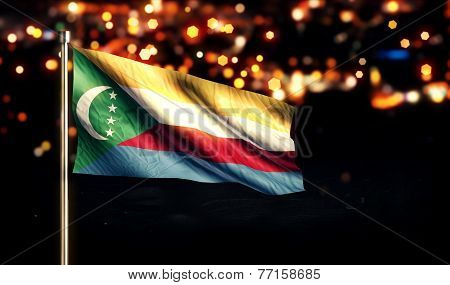 Comoros National Flag City Light Night Bokeh Background 3D