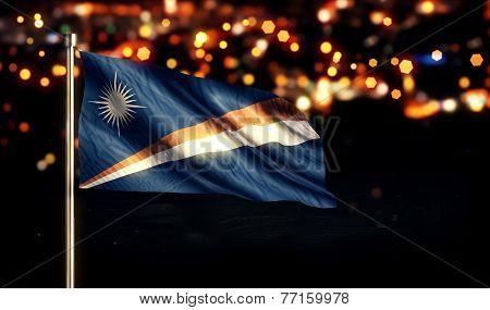 Marshall Islands National Flag City Light Night Bokeh Background 3D