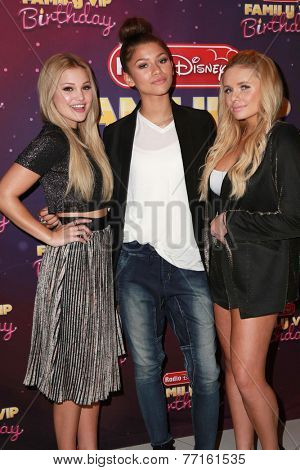 LOS ANGELES - NOV 22:  Olivia Holt, Zendaya Coleman, Alli Simpson at the Radio Disney's Family VIP Birthday at the Club Nokia on November 22, 2014 in Los Angeles, CA