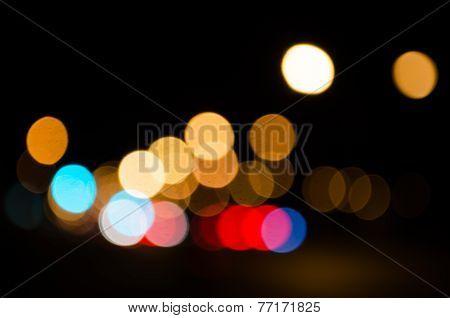 Defocused Of Road Lights