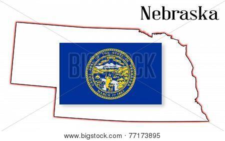 Nebraske State Map And Flag
