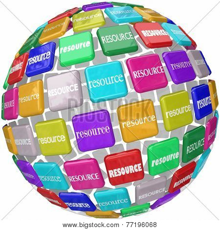 Resource word on tiles in a globe or sphere to illustrate access to skills, knowledge and information in a library or database collection needed for a job or task