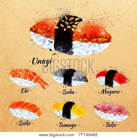 Sushi watercolor in kraft
