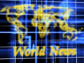 World News. 3d graphics render. Abstract picture on blue background poster