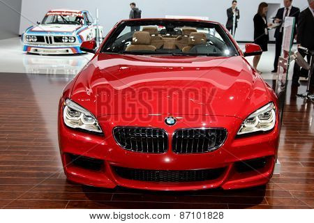 NEW YORK - APRIL 1: BMW exhibit 2016 BMW 640i xDive convertible  model at the 2015 New York International Auto Show during Press day,  public show is running from April 3-12, 2015 in New York, NY.