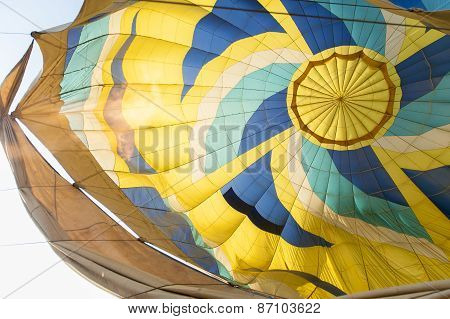 Filling up the hot air balloon