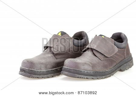 Old Black Safety Shoe For Worker