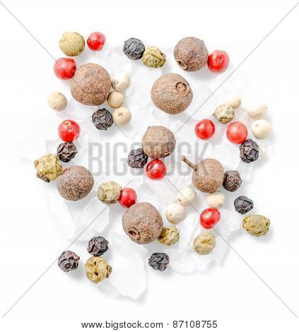Top Down Of Different Peppers And Sea Salt Is Isolated On White Background, Closeup