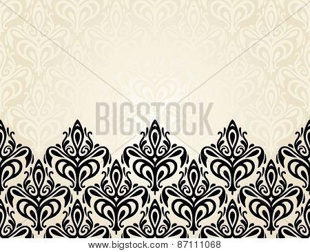 Pale Fashionable ecru and black invitation design