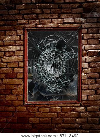 An old shattered window and brick wall poster