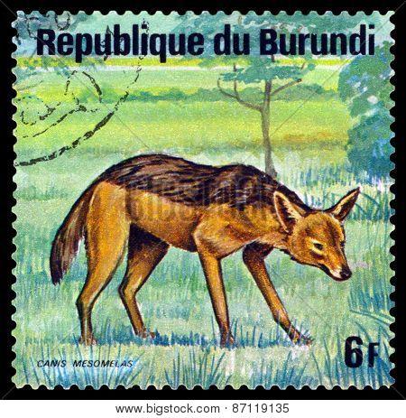 Vintage  Postage Stamp. Black-backed Jackal. Animals Burundi.