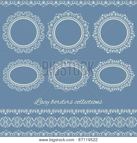 Set of white vintage elegant lacy borders and frames