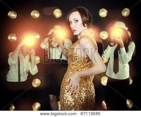 Superstar Woman Posing To Paparazzi