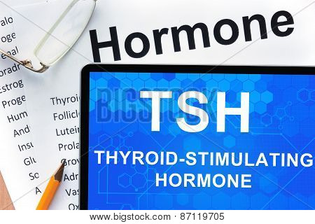 Papers with hormones list and tablet  with words  Thyroid-stimulating hormone (TSH).