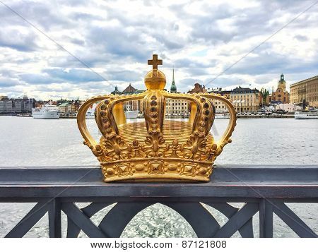 Swedish Royal Crown On A Bridge In Stockholm