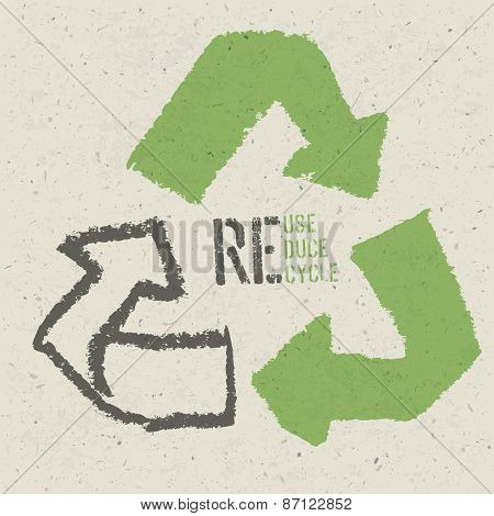 "Reuse conceptual symbol and ""Reuse, Reduce, Recycle"" text on Recycled Paper Texture poster"