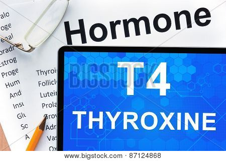 Papers with hormones list and tablet  with words Thyroxine (T4) .