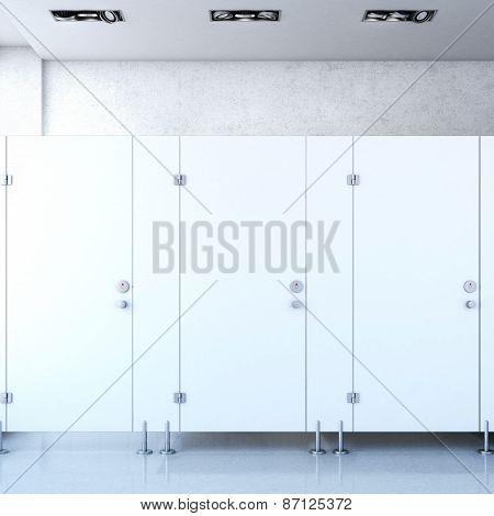 Closed public toilet cubicles. 3d rendering