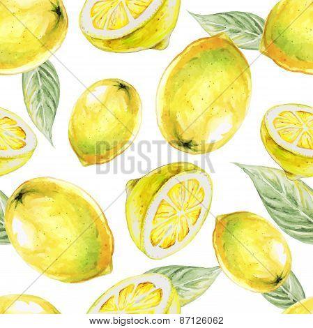 Watercolor seamless pattern of lemon fruit. Vector illustration of citrus fruits. Eco food illustrat