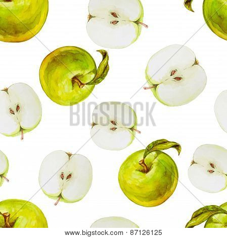 Watercolor seamless pattern with green apples. Hand drawn design. Vector summer fruit illustration.