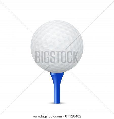 Golf Ball On A Blue Tee. Vector Illustration.
